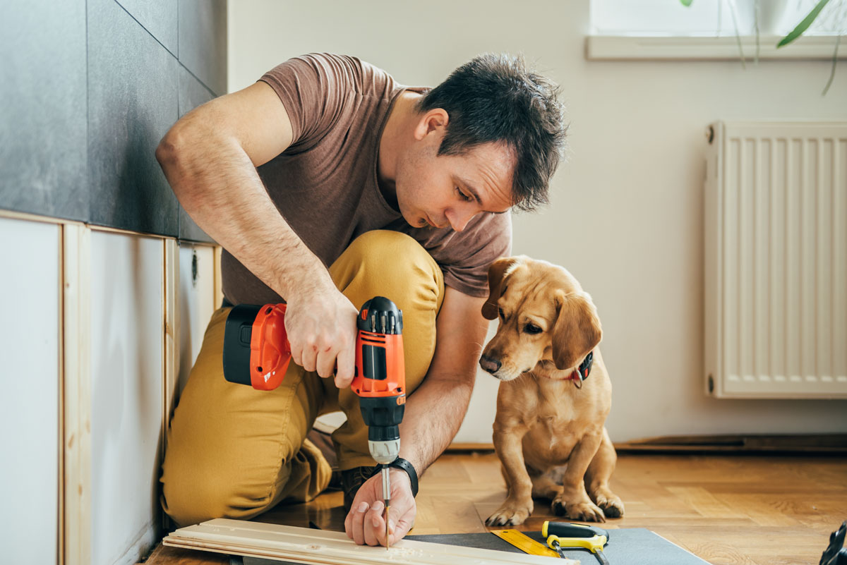 Man working on home improvements.