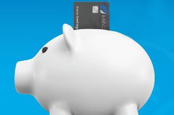 Piggy bank with IHMVCU credit card