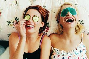 girls having fun night in