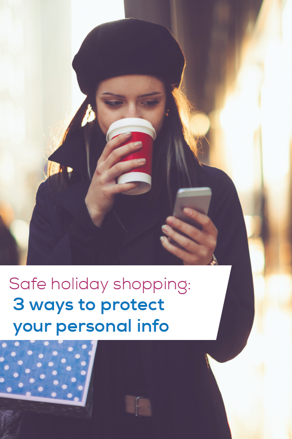 safe holiday shopping pin image