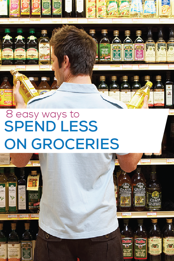 spend less on groceries pinterest image