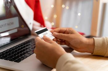 online shopping and looking at credit card