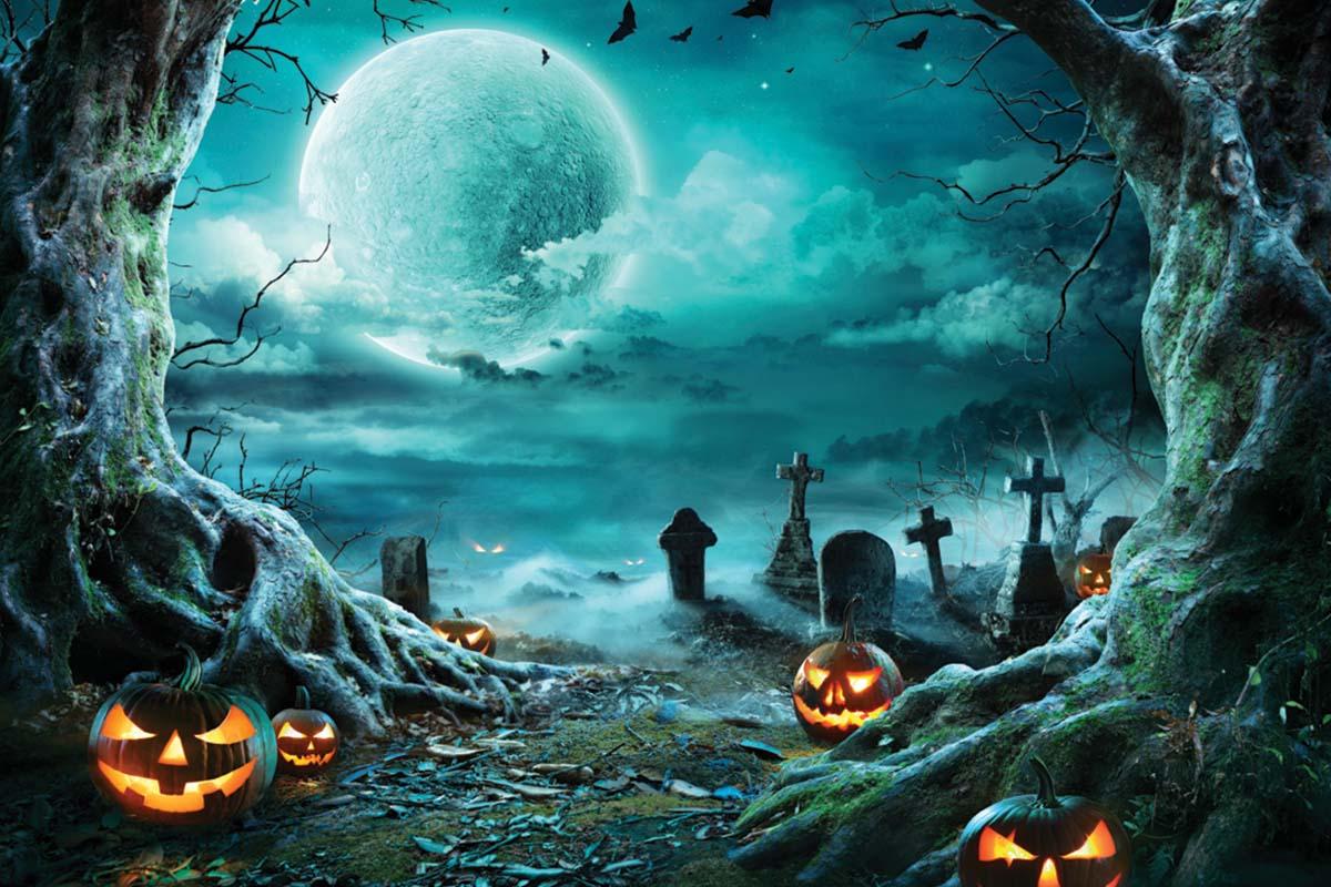 Spooky full moon in cemetery