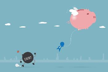 piggy bank flying with businessman and debt character left behind